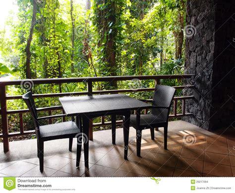 ecotourism resort patio  natural jungle view stock
