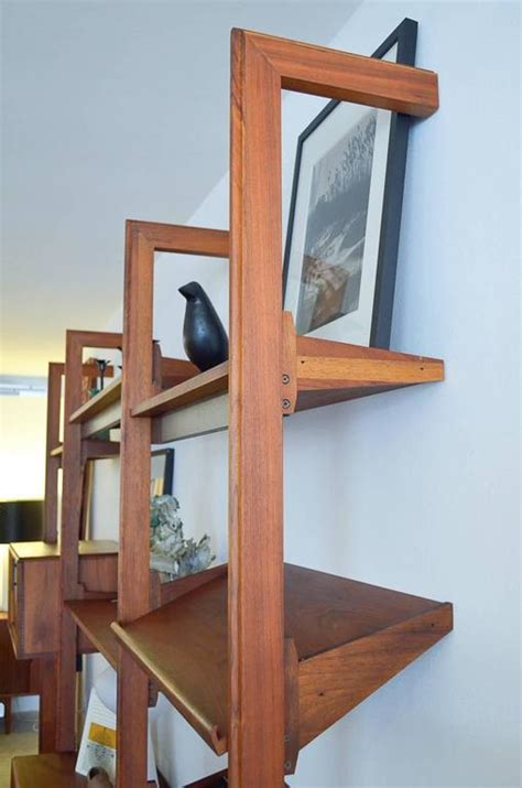 standing l with shelves free standing walnut 3 section shelving unit by barzilay