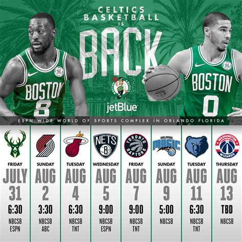 Celtics Announce Eight-Game Schedule For Resumption of ...