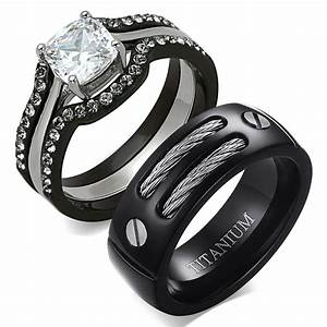 his hers 4 pc black stainless steel titanium wedding With where can i sell my wedding ring set