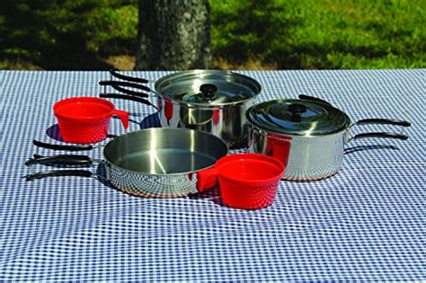 texsport stainless steel copper bottom outdoor camping cookware cook set   ebay