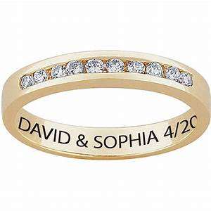 personalized women39s cz 10kt gold engraved wedding ring With walmart wedding rings for women