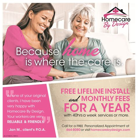 homecare by design free lifeline for a year home care personal service