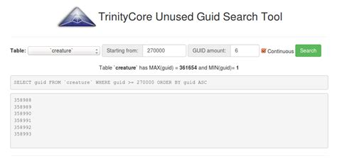Trintycore Template by Trinitycore Tc Unused Guid Search Web Trinitycore Database