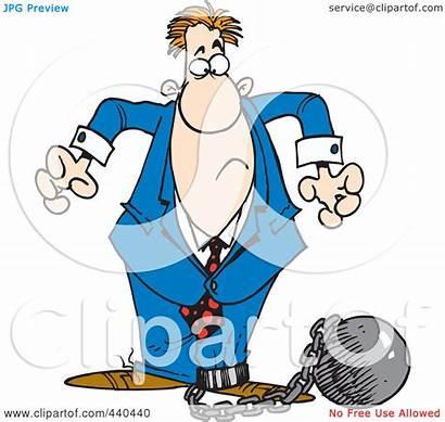 Shackled Clip Crazy Going Cartoon Businessman Chain