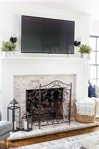 Limewashed, Brick, Fireplace, With, Tv, Above, Mantel, Fireplacedecorationideasdiy