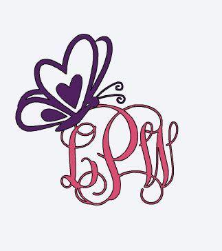 heart butterfly monogram yeti vinyl decal  kristinscustomvinyl  etsy butterfly decal yeti