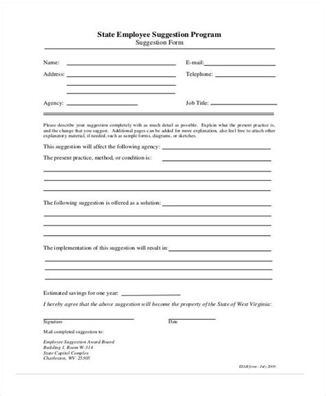 employee suggestion forms templates  word