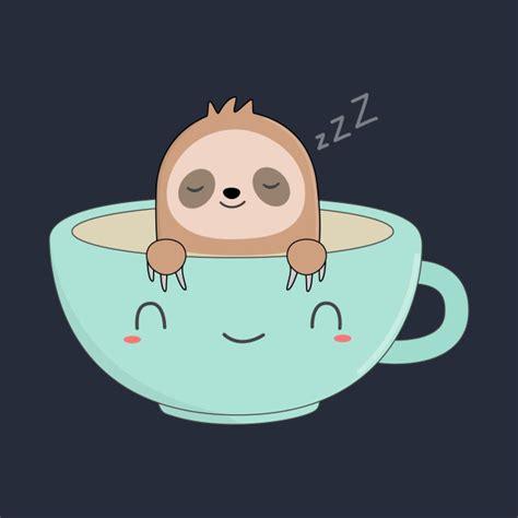 Feel free to explore, study and enjoy paintings with paintingvalley.com. Cute Kawaii Sloth Coffee T-Shirt - Cute Sloth - T-Shirt | TeePublic