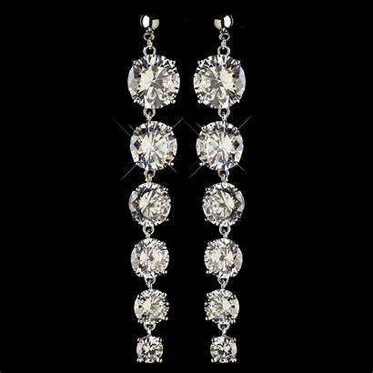 Earrings Cz Rhodium Dangle Crystal Clear Cl