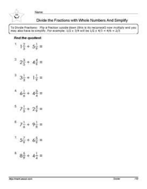 division of fractions with mixed numbers worksheets math
