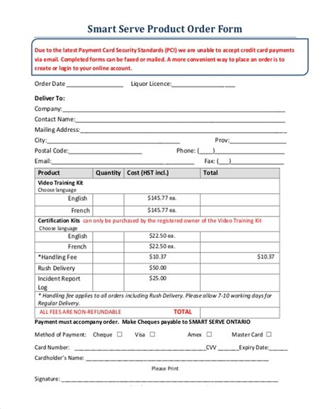 sle product order form 11 free documents in pdf