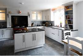 Delectable White Kitchen Cabinets Slate Floor Gallery Slate Floor Alongside Rectangular Floor Tile AndTile Floor White