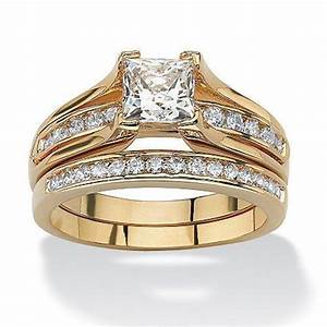 womens yellow gold plated princess cut aaa cz wedding ring With gold cz wedding ring sets