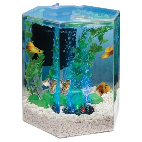 tetra 29040 hexagon aquarium kit with led bubbler 1