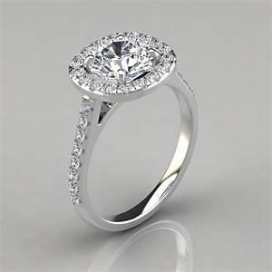 floating cushion shape halo style engagement ring With halo style wedding rings