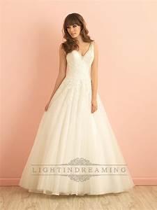 v neck a line lace wedding dress with deep v back With deep v lace wedding dress