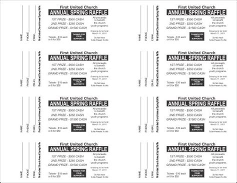 Template For Raffle Tickets To Print by Free Printable Raffle Tickets Template