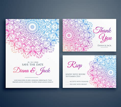 mandala style wedding invitation template