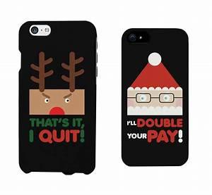 Amazon.com: Rudolph and Santa Christmas Couple Matching ...