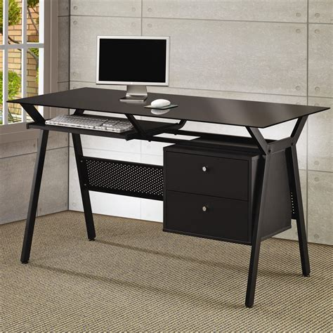 glass and metal computer desk with drawers modern glass office desk
