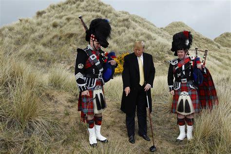 trump scotland donald golf history irish scots scottish moir america road aberdeen trumps wind sand mother bagpipes president children tortured