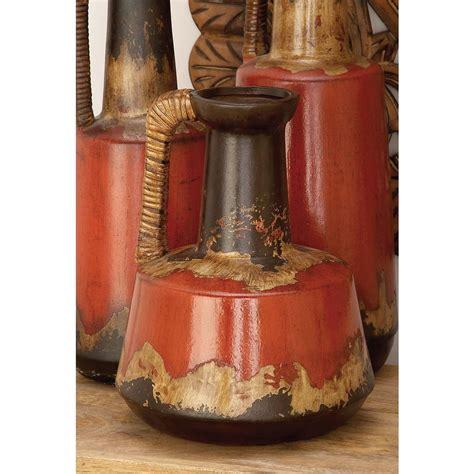 Decor Vase by Ceramic Decorative Vase Rattan Handle 12 In Rustic Jug
