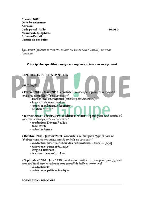 modele de lettre de motivation chauffeur routier mod 232 le de cv pour un emploi de conducteur routier confirm 233