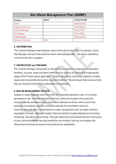 Waste Management Report Templatesite Waste Management
