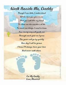 Items similar to Walk Beside Me Daddy© Footprint Poem ...