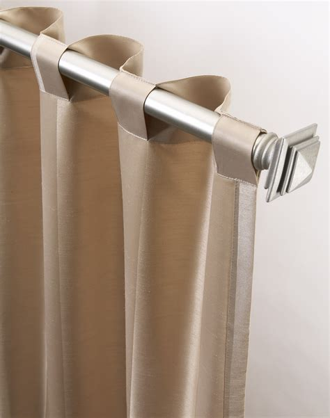 Back Tab Drapes by Cooper Stripe Faux Silk Wide Width Panel Curtainworks
