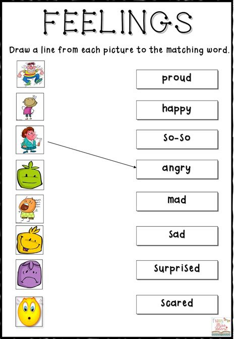 feelings matching worksheet special ed feelings
