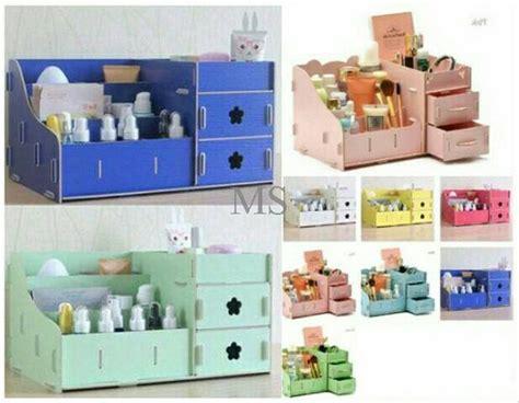 jual rak kosmetik kecil bahan kayu rak susun kosmetik