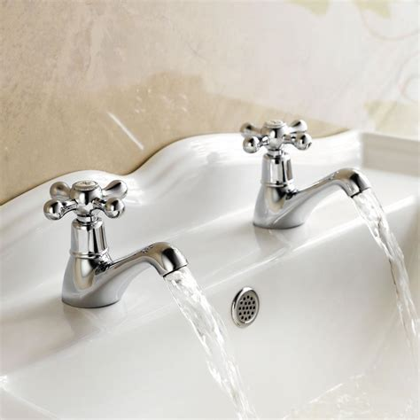 traditional cross head chrome twin bathroom basin sink