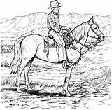 Cowboy Coloring Pages Rodeo Horse Adults Horses sketch template
