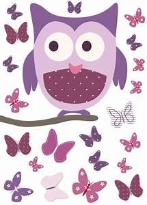 sticker chouette sur son arbre et papillons rose et mauve With chambre bébé design avec sac à fleurs