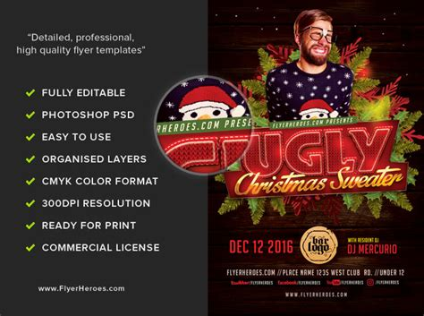 ugly sweater christmas flyer template v2 flyerheroes