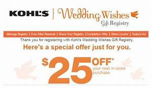 kohl39s free 25 credit when you create a wedding registry With kohl s wedding gift registry