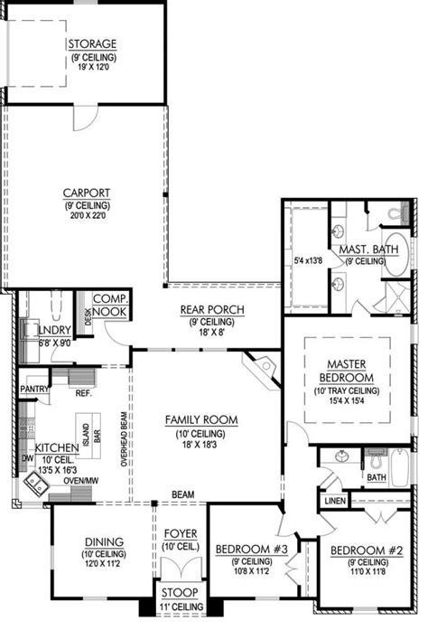 One Story House Plans With Large Kitchens by 653644 3 Bedroom Open Plan With Large Kitchen And
