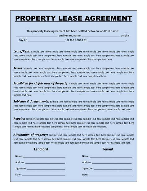 rental lease agreement templates free rental agreement template lisamaurodesign Free