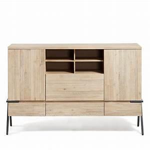 Buffet Bois Et Metal : buffet design bois massif et m tal 160x105 3 tiroirs 2 portes spike by drawer ~ Teatrodelosmanantiales.com Idées de Décoration