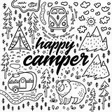 Coloring Camping Pages Camper Happy Colouring Drawn Hand Illustration Adult Sheets Rv Fun Funny Vector Alphabet Gone Adults Theme Bobcat sketch template