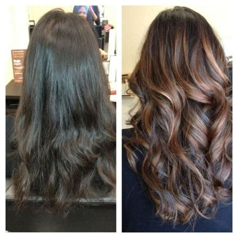 Brown To Hair Before And After Photos by Caramel Highlights In Brown Hair Before And After