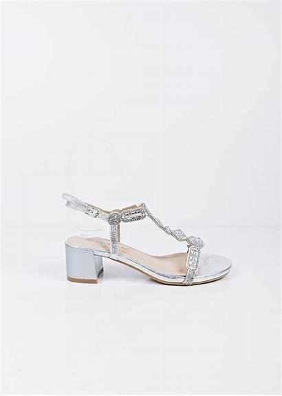Heel Block Silver Sandals Strap Bar Shoes