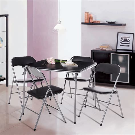 folding kitchen table with chair storage ikayaa 5pcs metal folding kitchen dining table chair set 8263