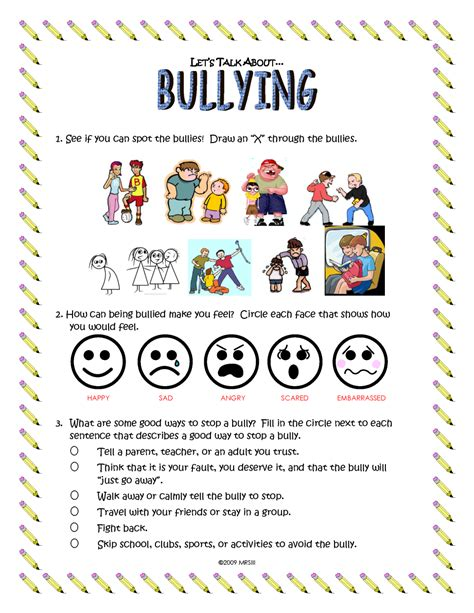 bullying worksheets for elementary students the best