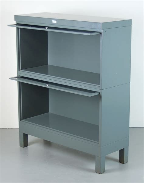 metal bookcase with doors vintage industrial grey steel barrister bookcase