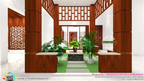 courtyard kitchen  bedroom interiors kerala home design  floor plans