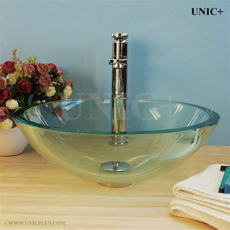 Tempered Glass Bathroom Sink by Clear Tempered Glass Bathroom Vessel Sink Bvg008 In