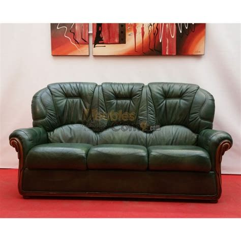 canape cuir rapido canapé cuvette cuir vert bois apparent 3 places n136